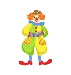 Colorful friendly clown playing accordion in vector