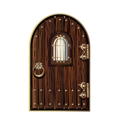 Wooden door with window vector