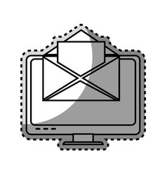 Monochrome contour sticker with lcd monitor and vector