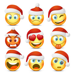 emoji and sad new year hat icon set vector image