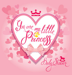 Baby shower with heart and crown on pink vector