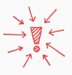 Hand draw exclamation mark circle of arrows red vector