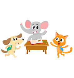 Animal students - elephant cat and dog back to vector