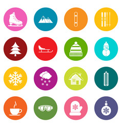 Winter icons many colors set vector