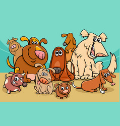 funny dog characters group cartoon vector image