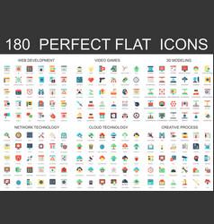 180 modern flat icons set of web development vector image vector image