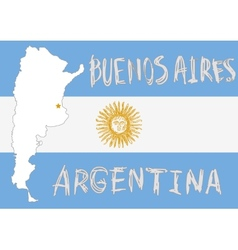 Argentina border shape flag on background and hand vector