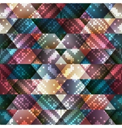 Embroidery pattern on geometric background vector