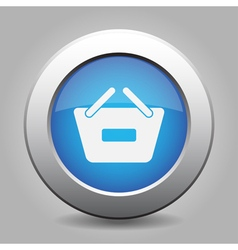 Blue button - shopping basket minus vector