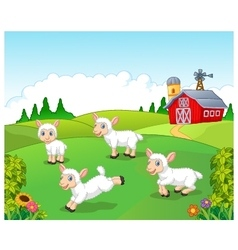 Cute cartoon sheep collection set with farm vector