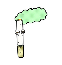 Comic cartoon happy cigarette vector