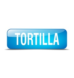 Tortilla blue square 3d realistic isolated web vector