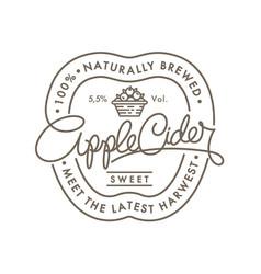 Apple cider logo label retro lettering vector