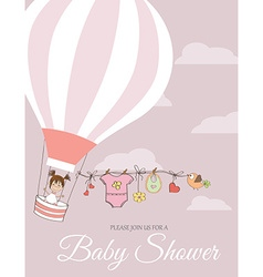 Baby girl shower card with hot air balloon vector