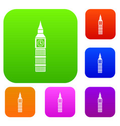 Big ben clock set collection vector