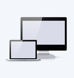 black monitor and notebook with white screen vector image