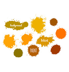collection orange paint splash set of vector image vector image