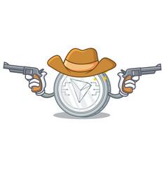 Cowboy tron coin character cartoon vector