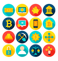 Cryptocurrency bitcoin flat icons vector