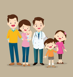 cute family with baby and doctor vector image vector image