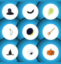 flat icon halloween set of spinner witch cap vector image vector image