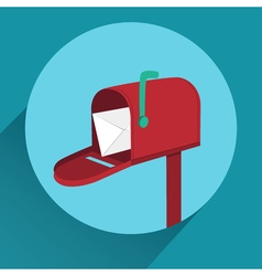 Flat mailbox with long shadow vector