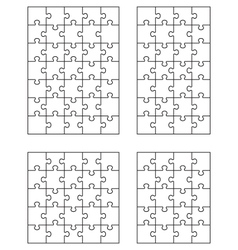 Four white puzzles 4 vector