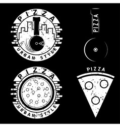 grunge urban style pizza labels and elements set vector image vector image
