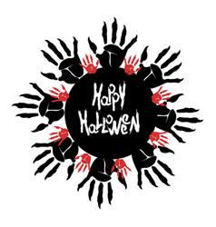 Halloween zombie palm logo vector