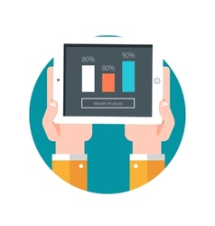Hands hold tablet pc with graphs vector