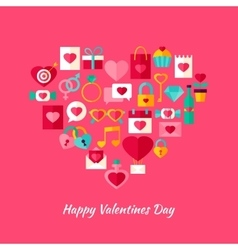 Heart shape valentine day objects vector