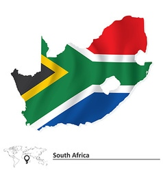Map of south africa with flag vector