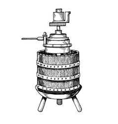 Mechanical wine press engraving vector