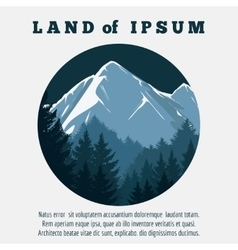 Mountain and pine forest travel banner vector