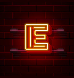 Neon city font letter e signboard vector