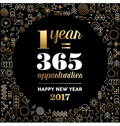 New Year 2017 gold design with happy quote vector image vector image