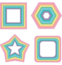Pastel rainbow square star and other - vector