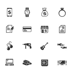 Pawn shop icon set vector