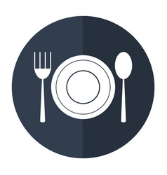 Plate spoon fork utensils shadow vector