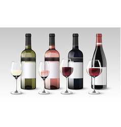 Realistic wine collection vector