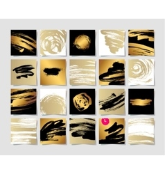 set of 20 black white and gold ink brushes grunge vector image