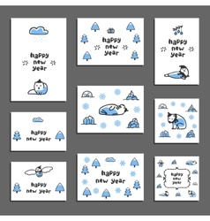 Set of happy new year greeting cards with cute vector