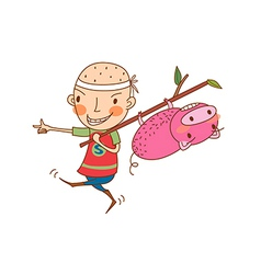 Side view of boy holding stick with pig vector image