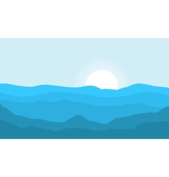Silhouette of hill and sun at morning landscape vector
