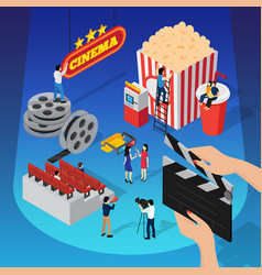 Spotlight cinema isometric concept vector