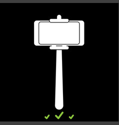 Stick holder for selfie it is white icon vector