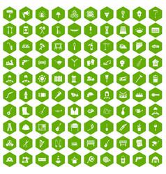 100 tools icons hexagon green vector