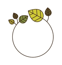 decorative circular frame with green leaves vector image