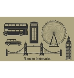 Set of london landmarks britain symbols isolated vector