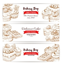 Bakery shop dessert cakes sketch banners set vector